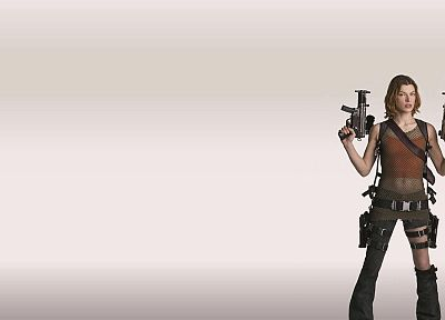 brunettes, women, Resident Evil, girls with guns, Milla Jovovich, simple background - related desktop wallpaper