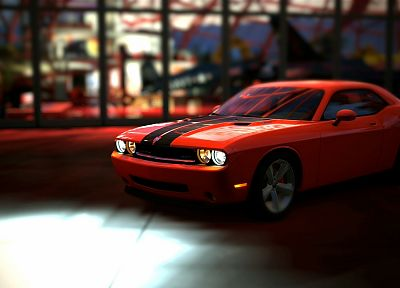 video games, cars, vehicles, Gran Turismo 5, Dodge Challenger SRT8, Playstation 3, Red Bull's Hangar - related desktop wallpaper