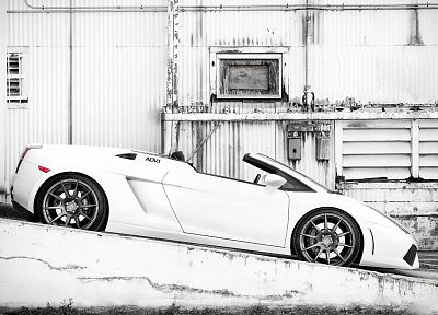 white, cars, Lamborghini, monochrome, supercars, Lamborghini Gallardo LP570-4 Performante - random desktop wallpaper