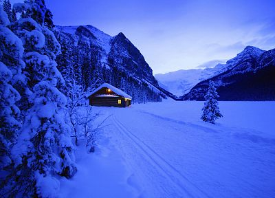 blue, mountains, snow, cold, Christmas, eerie, frost, cabin - desktop wallpaper