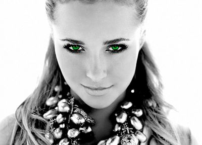 women, actress, Hayden Panettiere, celebrity, green eyes, selective coloring, white background - related desktop wallpaper