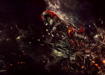 fire, Hell, horses, artwork, Desktopography - related desktop wallpaper