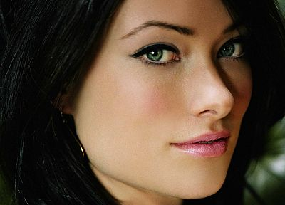 women, close-up, models, Olivia Wilde, green eyes, earrings, black hair - random desktop wallpaper