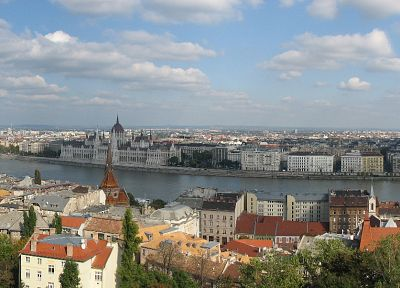 castles, cityscapes, architecture, buildings, Hungary, Budapest, panorama, rivers, multiscreen, Hungarian Parliament Building - related desktop wallpaper