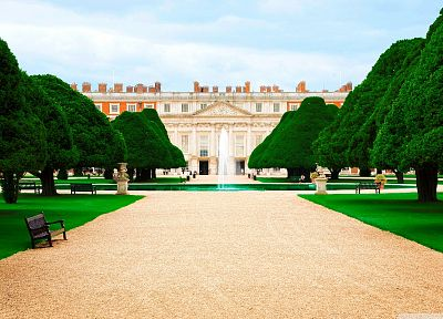 trees, court, palace, Hampton Court - desktop wallpaper