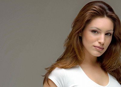 women, Kelly Brook, redheads, simple background, faces - desktop wallpaper