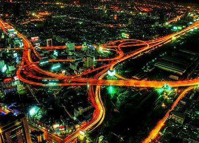 cityscapes, night, architecture, buildings, highways, citylights, cities, light trails, car lights - related desktop wallpaper