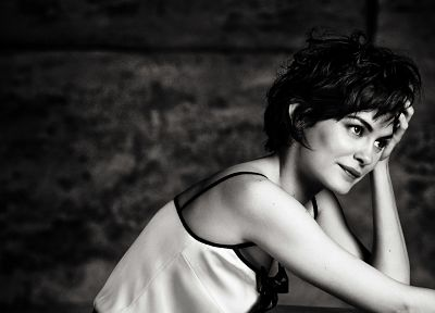 actress, Audrey Tautou, grayscale, monochrome - related desktop wallpaper