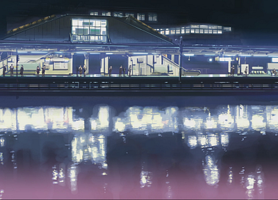 Makoto Shinkai, train stations, 5 Centimeters Per Second, artwork, anime, reflections - related desktop wallpaper