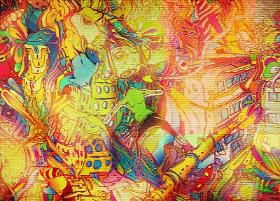 abstract, multicolor, buildings, surreal, artwork, Matei Apostolescu - related desktop wallpaper