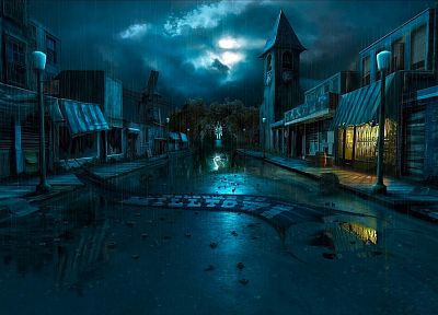 streets, rain, buildings, towns, artwork, lightning, windmills, abandoned, clock tower, dilapidated, Andreas Rocha, storefronts - related desktop wallpaper