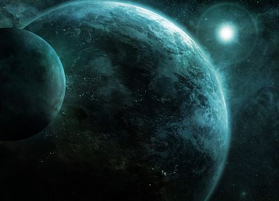 outer space, stars, planets, Moon, CGI, Earth, concept art - desktop wallpaper