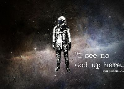 outer space, text, astronauts, Yuri Gagarin, cosmonaut - random desktop wallpaper