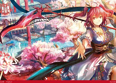 women, water, landscapes, Touhou, cherry blossoms, trees, multicolor, scythe, redheads, ships, Sakura, weapons, spring, shinigami, red eyes, short hair, twintails, house, rivers, flower petals, Fuji Choko, soft shading, Onozuka Komachi, Japanese clothes,  - related desktop wallpaper