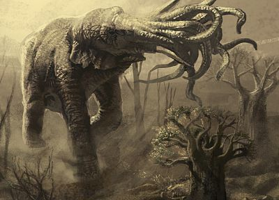 Cthulhu, artwork, elephants - related desktop wallpaper