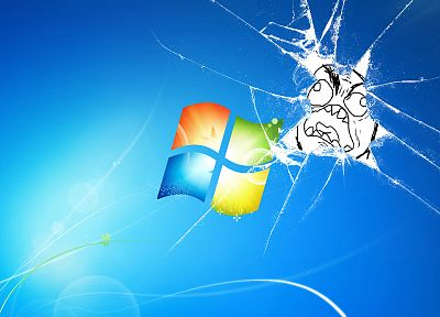 broken screen, Microsoft Windows, logos - related desktop wallpaper