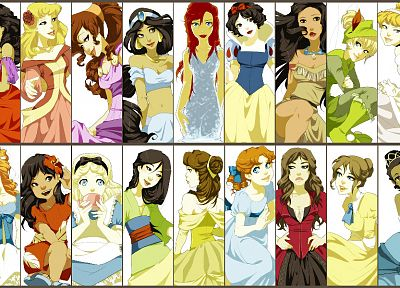 Disney Company, Alice in Wonderland, alternative art, Snow White, Pocahontas, Cinderella, Mulan, Lilo And Stitch, Princess Jasmine, Ariel (Mermaid), Belle (Disney), Jane, alternate art - random desktop wallpaper
