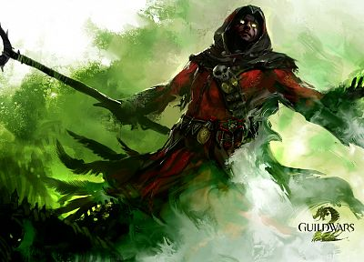 mage, artwork, Guild Wars 2, staff - desktop wallpaper