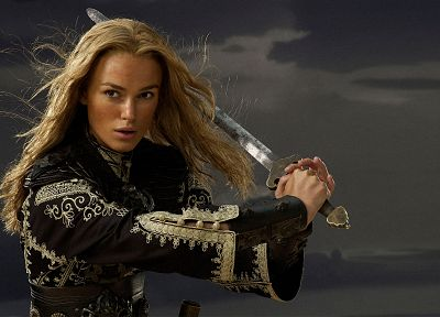 blondes, women, Keira Knightley, Pirates of the Caribbean, swords, Elizabeth Swann - random desktop wallpaper