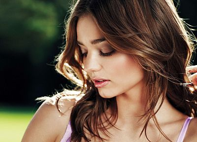 brunettes, women, Miranda Kerr, models, faces - desktop wallpaper