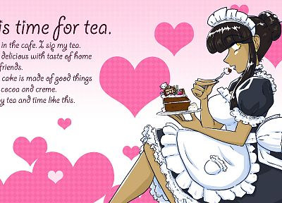 text, valkyrie, hearts, maid costumes, Sparkling Generation Valkyrie Yuuki, cakes - random desktop wallpaper