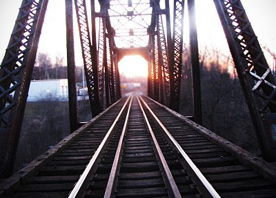 Sun, paths, bridges, depth of field, railroads, railway, train tracks - desktop wallpaper