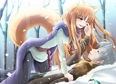 tails, winter, Spice and Wolf, animal ears, Craft Lawrence, Holo The Wise Wolf, inumimi - random desktop wallpaper
