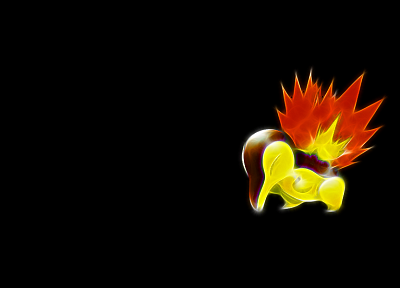Pokemon, simple background, Cyndaquil, black background - related desktop wallpaper