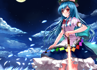 Touhou, night, Moon, long hair, weapons, blue hair, red eyes, Hinanawi Tenshi, flower petals, skyscapes, hats, girls with swords, swords - random desktop wallpaper