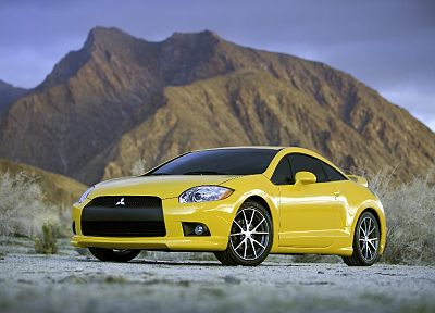 cars, Mitsubishi, vehicles, yellow cars - desktop wallpaper