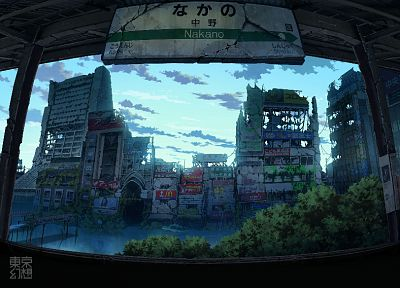 Japan, fantasy, Tokyo, ruins, cityscapes, post-apocalyptic, architecture, buildings, artwork, abandoned, flooded, dilapidated, old buildings, TokyoGenso - related desktop wallpaper