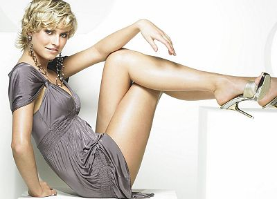 blondes, legs, women, dress, models, high heels, Lena Gercke, earrings - desktop wallpaper