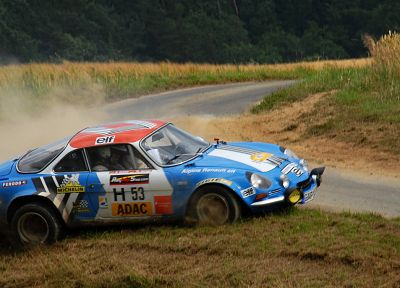 cars, grass, rally, roads, Renault Alpine, racing, asphalt, races, rally cars, blue cars, rally car - related desktop wallpaper