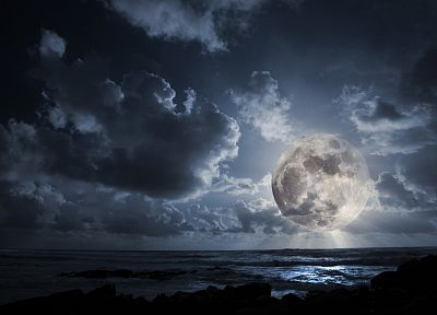 landscapes, outer space, dark, night, Moon - desktop wallpaper