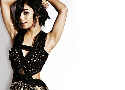 brunettes, women, actress, celebrity, Vanessa Hudgens, black dress, white background - related desktop wallpaper
