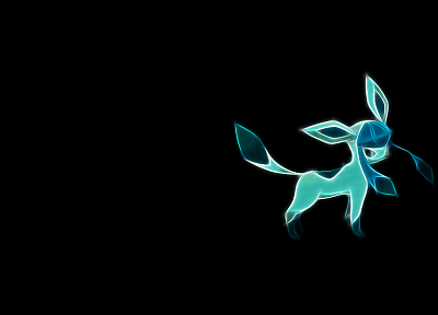 Pokemon, simple background, Glaceon, black background - related desktop wallpaper