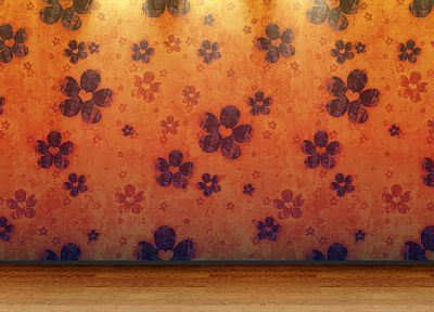 floor, 3D view, orange, room, patterns, wood floor - related desktop wallpaper