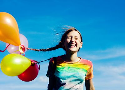 closed eyes, balloons, children - random desktop wallpaper