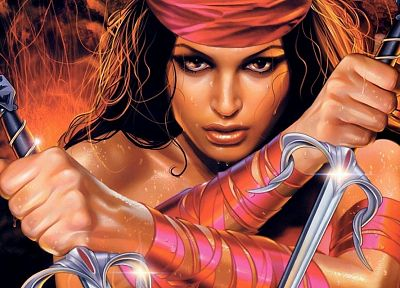 Elektra, illustrations, fantasy art, artwork, Marvel Comics, warriors, female warriors - random desktop wallpaper