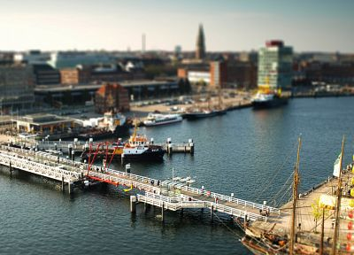 water, cityscapes, Germany, ships, bridges, boats, miniature, tilt-shift, vehicles, cities - desktop wallpaper