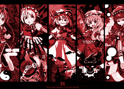 Touhou, red, Izayoi Sakuya, vampires, monochrome, Flandre Scarlet, Hong Meiling, panels, Patchouli Knowledge, Remilia Scarlet, Embodiment of Scarlet Devil - related desktop wallpaper