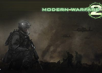 soldiers, helicopters, smoke, Call of Duty, gas masks, goggles, US Army, Call of Duty: Modern Warfare 2, M240, flashlight - desktop wallpaper