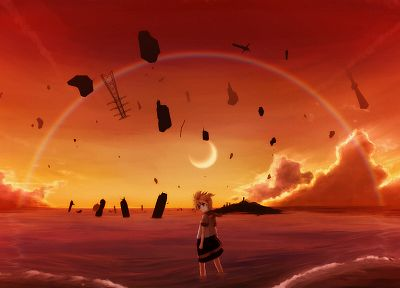 blondes, water, Vocaloid, Moon, Kagamine Len, anime, shorts, skyscapes - desktop wallpaper