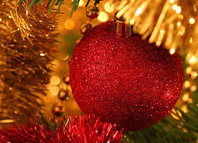 ribbons, Christmas, New Year, Happy New Year, ornaments, Christmas gifts, Christmas globes - related desktop wallpaper