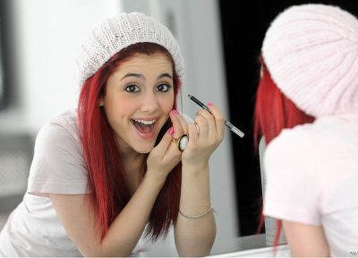 women, mirrors, redheads, brown eyes, open mouth, Ariana Grande - random desktop wallpaper