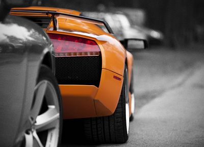 cars, Lamborghini, selective coloring, orange cars - random desktop wallpaper