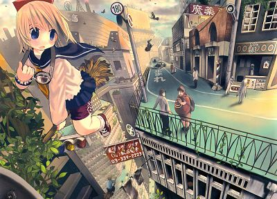 brunettes, blondes, clouds, trees, cityscapes, flying, blue eyes, school uniforms, schoolgirls, skirts, outdoors, socks, buildings, fantasy art, goggles, traffic lights, short hair, skyscrapers, brooms, scenic, blush, bows, open mouth, anime boys, bracele - related desktop wallpaper