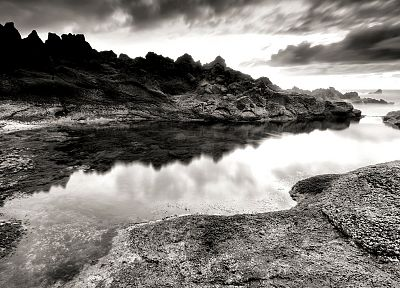 landscapes, nature, rocks, monochrome, sea - desktop wallpaper