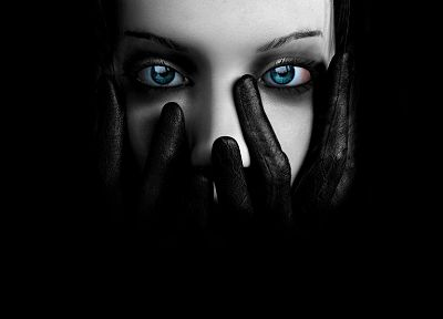 gloves, blue eyes, faces, black background - random desktop wallpaper