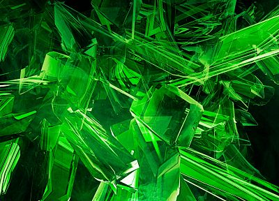 green, 3D view, abstract, gems - random desktop wallpaper